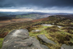 Beautiful late evening Autumn light over Stanage Edge Peak Distr Royalty Free Stock Images