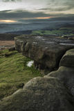 Beautiful late evening Autumn light over Stanage Edge Peak Distr Stock Images