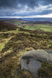 Beautiful late evening Autumn light over Stanage Edge Peak Distr Royalty Free Stock Photography