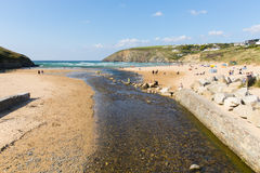 Beautiful late summer sun and fine weather drew visitors to the coast at Mawgan Porth, North Cornwall Stock Photos