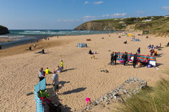 Beautiful late summer sun and fine weather drew visitors to the coast at Mawgan Porth, North Cornwall Stock Images
