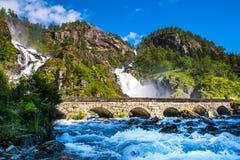 Beautiful Latefossen Latefoss - one of the biggest waterfalls stock photo