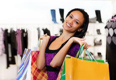 Beautiful  latin american women with packages Stock Image
