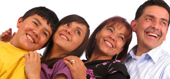 Beautiful latin family over white Stock Image