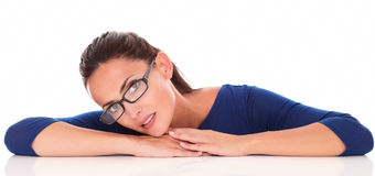 Beautiful latin female with glasses looking at you Royalty Free Stock Images