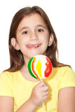 Beautiful latin girl with a colorful  lollipo Stock Images