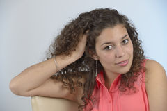 Beautiful latin girl with curly hair stock photography