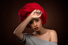 Beautiful latin girl isolated on dark Royalty Free Stock Image