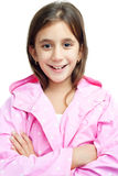 beautiful latin girl wearing a pink raincoat Royalty Free Stock Images