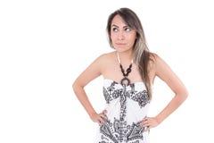 Beautiful latin girl wearing summer dress posing Stock Images
