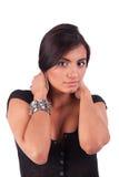 Beautiful latin woman, holding their hair Stock Photos