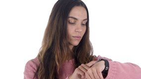 Beautiful Latin Woman Using Smartwatch, Browsing Online. 4k , high quality stock video footage