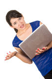Beautiful latin young woman using laptop Stock Photography