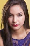 Beautiful latina model in a blue dress Royalty Free Stock Photo