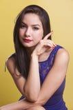 Beautiful latina model in a blue dress Royalty Free Stock Photos