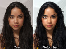 Beautiful Latina, Raw Versus Retouched Royalty Free Stock Photo