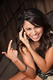 Beautiful Latina Woman on Cell Phone Royalty Free Stock Photo