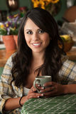 Beautiful Latina Woman with Cofee or Tea Stock Photo