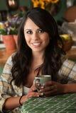 Beautiful Latina Woman with Cofee or Tea Stock Photo