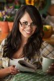 Beautiful Latina Woman with Cofee or Tea Royalty Free Stock Image