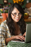 Beautiful Latina Woman with Computer royalty free stock photo