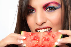 Beautiful Latina Woman Eating Watermelon Stock Photo