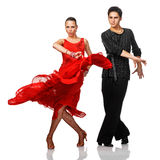 Beautiful Latino dancers in action. Isolated on white Stock Photography