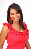 Beautiful Latino girl in red top with lovely smile Royalty Free Stock Photo