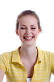 Beautiful laugh. Pretty blond girl on white background laughing Royalty Free Stock Image