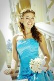 Beautiful laughing bride Stock Photos