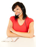 Beautiful laughing cheerful woman with headphones Royalty Free Stock Photos
