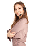 Beautiful laughing cheerful woman with headphones Stock Image