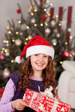 Beautiful laughing girl in a Santa hat. Beautiful laughing young teenage girl in a Santa hat holding a giftwrapped present in front of a decorated Christmas tree Royalty Free Stock Photo