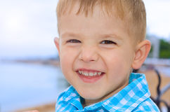 Beautiful laughing a little boy. Portrait of a beautiful laughing a little boy Royalty Free Stock Photo