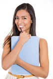 Beautiful laughing secretary or student, businesswoman holding a clipboard Royalty Free Stock Images