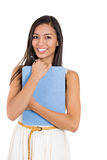 Beautiful laughing secretary or student, businesswoman holding a clipboard Stock Photo