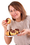 Beautiful laughing woman with cake Royalty Free Stock Images