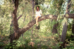 Beautiful laughing woman sitting  on tree in forest Stock Photos