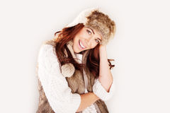 Beautiful Laughing Woman In Winter Fur Royalty Free Stock Photography