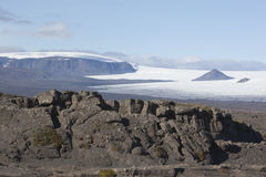 Beautiful lava formation and Langjökull @ Iceland Stock Image