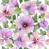 Beautiful lavatera flowers and leaves with veins against white background. Seamless floral pattern. Watercolor painting. Hand painted illustration. Fabric vector illustration