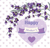 Beautiful lavender card for Mothers Day Vector illustration Royalty Free Stock Photography