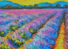 Beautiful lavender field at sunset. Oil painting on canvas. Modern art. Beautiful lavender field at sunset Stock Image