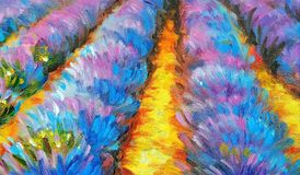 Beautiful lavender field at sunset. Oil painting on canvas. Modern art. Beautiful lavender field at sunset Royalty Free Stock Image
