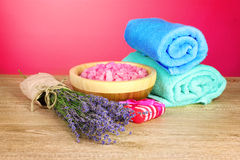 Beautiful lavender, salt and towels Royalty Free Stock Images