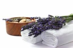 Beautiful lavender spa set Royalty Free Stock Photos