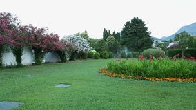 Beautiful lawn with green grass and flowers. Irrigation system water stream to grass. Watering and irrigation - base of