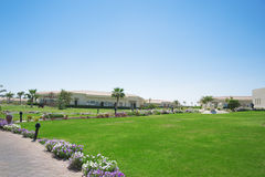 Beautiful lawn near the road. And house Royalty Free Stock Image