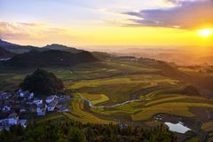 Terrace at guizhou china. The Beautiful layer of mountain and nature in rice field on terrace of Guizhou china Royalty Free Stock Images
