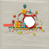 Beautiful layout. Beautiful colorful birthday layout with frame and fun elements Stock Photo